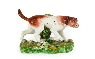 A Derby Porcelain Figure of a Hound, circa 1790, on...