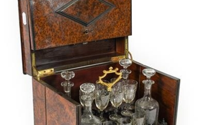 A French Amboyna Travelling Liqueur Set, mid 19th century, of...