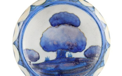 A MOORCROFT SMALL SHALLOW DISH WITH CURVED RIM dec