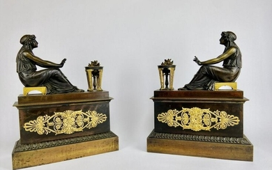 A PAIR OF EMPIRE STYLE GILT AND PATINATED BRONZE CHENET