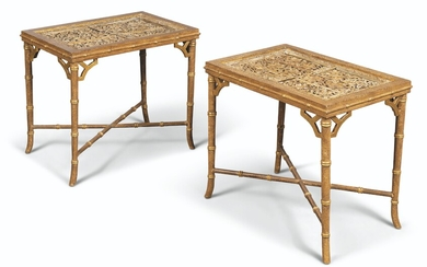 A PAIR OF PAINTED AND PARCEL-GILT LOW TABLES