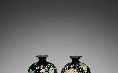A PAIR OF SMALL CLOISONNÉ VASES