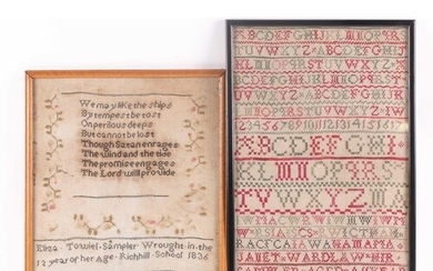 A William IV needlework sampler, with verse from John Newton...