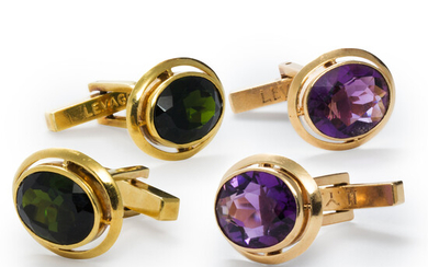 A group of gemstone and gold cufflinks