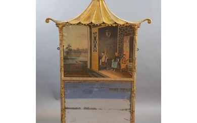A mid 19th century giltwood and gesso wall mirror inset with...