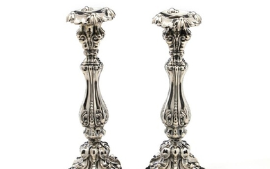 A pair of 19th century Austro-Hungarian silver candlesticks, richly chased with foliage and beads. Partly filled. Unknown maker. H. 28.5 cm. (2) – Bruun Rasmussen Auctioneers of Fine Art