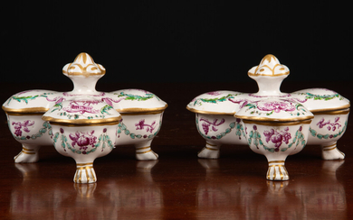 A pair of French porcelain sweetmeat dishes
