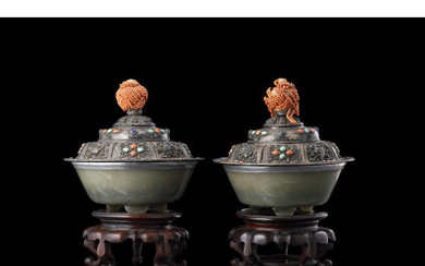 A pair of celadon green jade bowls, with metal mounts and silvered copper covers with faux gems, handles with coral…Read more
