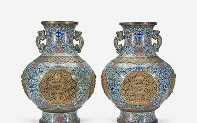 A pair of finely-executed Chinese cloisonné and parcel-gilt large...