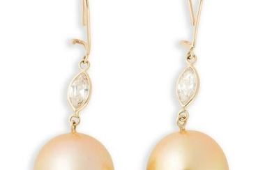 A pair of golden South Sea pearl, champagne diamond and