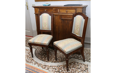 A set of four walnut chairs