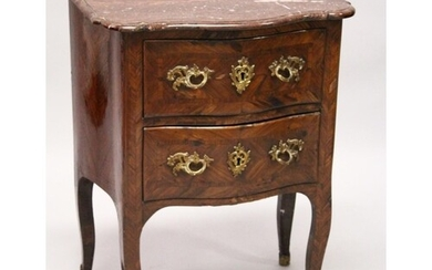 AN 18TH CENTURY FRENCH KINGWOOD, ORMOLU AND MARBLE TWO DRAWE...