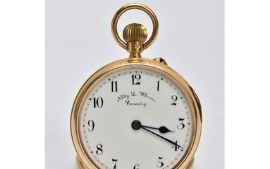 AN EDWARDIAN 18CT GOLD OPEN FACE POCKET WATCH, the white fac...