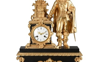 AN IMPRESSIVE FRENCH LOUIS PHILIPPE GILT BRASS AND BELGE NOIR MARBLE FIGURAL MANTEL CLOCK