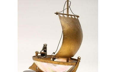 AN UNUSUAL LATE 19TH CENTURY FRENCH ORMOLU MOUNTED SHELL, mo...