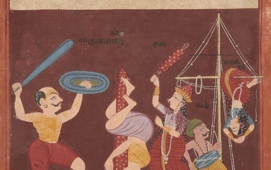 An illustration from an unusual Ragamala Series, India, Gujarat, circa 1800, opaque pigments on wasli paper, Raga Shri Nath, with two male and two female acrobats performing with a drummer, all on a maroon background, with black devanagari...