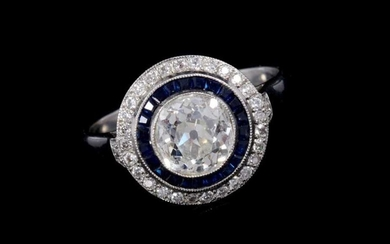 Art Deco style diamond and sapphire halo cluster ring