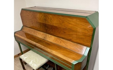 B Squire An overstrung upright piano in an Art Deco walnut c...