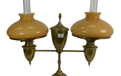 Bradley and Hubbard Double Brass Student Lamp having