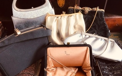 COLLECTION OF EIGHT VINTAGE HANDBAGS INCLUDING A HARRY LEVIN...