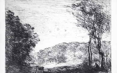 Camille Jean-Baptiste Corot (French, 1796-1875) - Campagne Boisee, Etching, 1866.