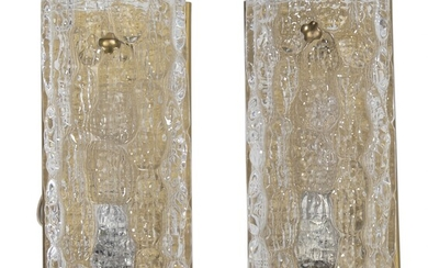 NOT SOLD. Carl Fagerlund: A pair of wall lamps of brass and glass. Manufactured by...