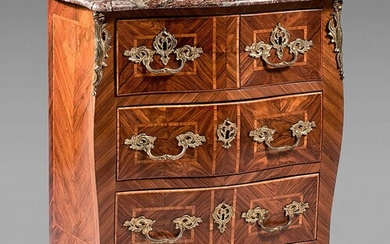 Chest of drawers with a curved front in violet wood...