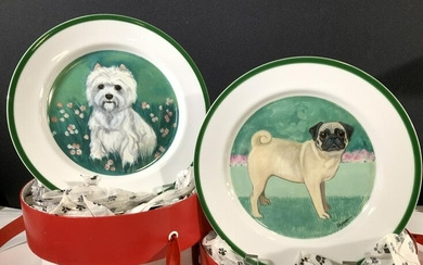 Collectible MK Zeppa Porcelain Dog Plates, boxed