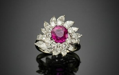 Cushion shape ct. 2.75 circa ruby with marquise and