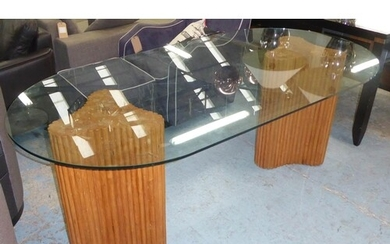 DINING TABLE, contemporary, twin pedestal bamboo design, gla...