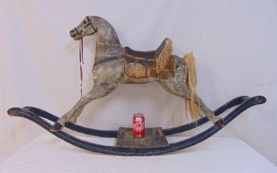 Early rocking horse, carved & painted wood, gesso