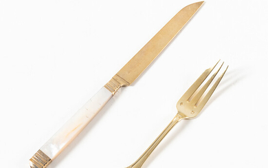 French Vermeil and Mother-of-pearl Knives and Vermeil Fruit Forks
