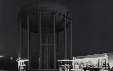 George Tice, Petit's Mobil Station and Watertower, Cherry Hill, New Jersey