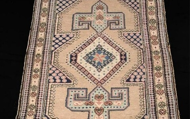 HAND KNOTTED PERSIAN TAN AND BLUE RUG