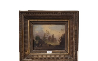 IRISH SCHOOL EARLY 19TH CENTURY Wooded landscape with ruined...