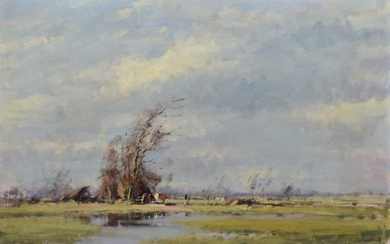 """§ James Longueville P.S., R.B.S.A. (British 1942-) """"A March Day, Shocklach"""""""