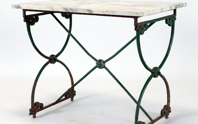LATE 19TH C. FRENCH CAST IRON ZINC GARDEN TABLE