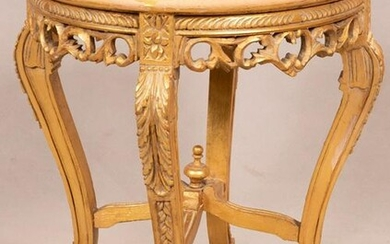 "LOUIS XV STYLE MARBLE & GILT WOOD TABLE, H 22"", DIA 18"""