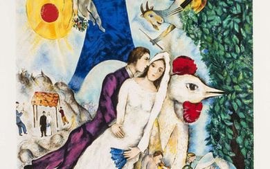 Marc Chagall (1887-1985) (after) Lovers by the Eiffel Tower