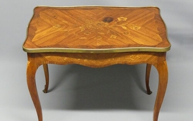 Old French kingwood marquetry inlaid occasional table. 60 cm...