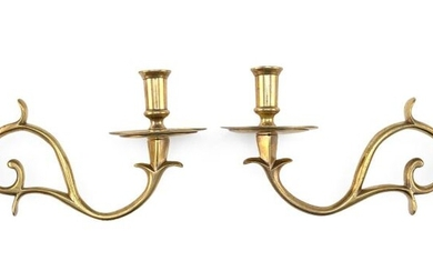 PAIR OF SINGLE-ARM BRASS WALL SCONCES