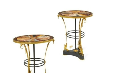 Pair Italian Empire style bronze & marble tables