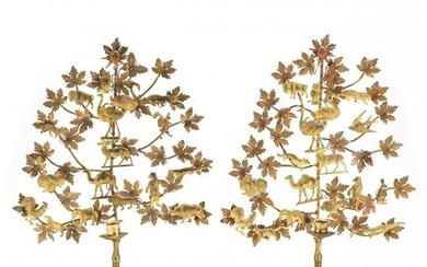 Pair of Brass Tree of Life Candle Holders