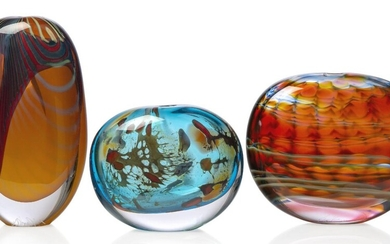 Peter Layton (British b.1937), a studio glass 'Paradiso' series tall 'stoneform' vase, c.2000, with engraved signature, Of ovoid form, cased in clear crystal, the orange and red ground with turquoise banding, together with an 'Aurora' series...