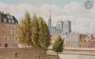 Pierre BAZIRE (born in 1938)Paris, Notre-Dame seen from the Hôtel de VilleOilon panel.Signed lower left.Signed and titled on the back.24 x 33 cm