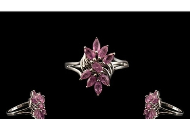Pink Sapphire Cluster Ring, marquise cut hot pink sapphires,...
