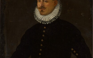 Portrait of a Gentleman, three-quarter length, facing left, resting his right hand on a silver object, North Italian School, 17th Century