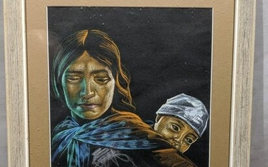 R Trigueros Pastel Painting Native American Mother Baby