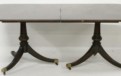 Regency Style Double Pedestal Table w/ Chairs