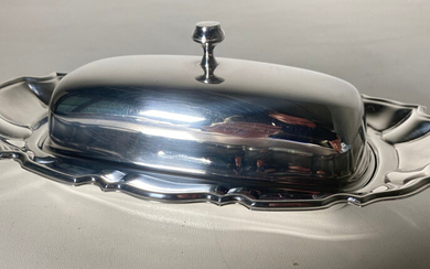 Silver-plated butter dish with glass insert, Towle USA.